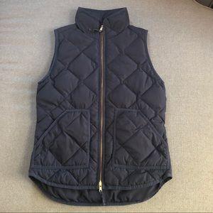 J.Crew navy blue quilted puffer vest XXS